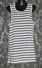 NWT Womens size L (14) white & navy striped singlet top made by SUPRE
