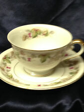 MEITO CHINA CABERNET FOOTED CUP & SAUCER 8 OZ BERRIES & LEAVES ON VINE GOLD TRIM