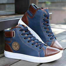 Fashion Mens Oxfords Casual High Top Shoes Leather Shoes Canvas Sneakers Sz 5-11