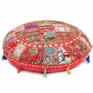 """EMBROIDERED 32"""" INCH ROUND FLOOR CUSHON COVER BEADS WORK 100% COTTON POUF COVER"""