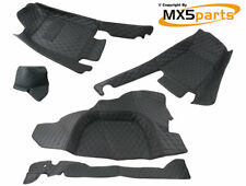 MX5 Black Leather Vintage Style Interior Carpet Set Mazda RHD MX-5 Mk1 1989>1998
