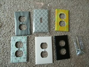 Lot of 5 Outlet Covers & 1 Switchplate Assorted Designs UNUSED