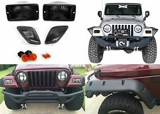 4pc Smoked Bumper & Side Marker Lights For 1997-2006 Jeep Wrangler New Free Ship