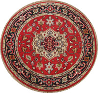 Geometric Indo Heriz Oriental Area Rug Wool Hand-Knotted Red Carpet 4x4 Round