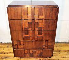 Lane Mid Century Modern Brutalist/Cubist Dresser Tallboy Chest
