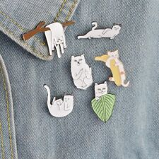 set of 6 White cats enamel pins . cat animals doodle cool animal kitten kittens