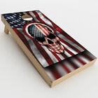 Skin Decal for Cornhole Game Board 2xpcs. / America Skull Military USA Murica