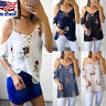 Women's Floral Print Short Sleeve Top Cold Shoulder T-shirts Casual Loose Blouse