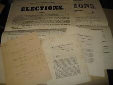 LOT DE 4 TRACTS AFFICHES ELECTIONS CHINON 1842 TOURAINE CREMIEUX PISCATORY