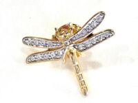 Bijou broche pin's libellule  avec strass alliage doré brooch