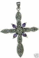 Solid 925 Sterling Silver Amethyst Marcasite Cross Pendant