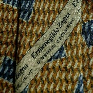Gold Blue Abstract ZEGNA Silk Tie