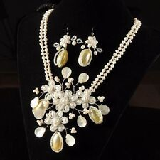 Gorgeous Handcrafted Shell Pearl Loose Beads Floral Design Pendant Earrings Set