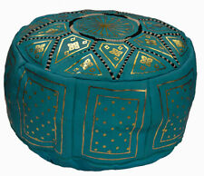 Pouf Moroccan Hassock Pooff Leather Ottoman Footstool Medium Beige Turquoise