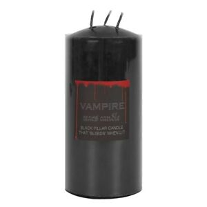 Vampire Tears Large Pillar Candle - Jet Black & Weeps Blood Red Wax