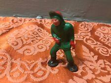 Vintage Cast Iron Metal Man Snow Shoeing Christmas Holiday Figurine