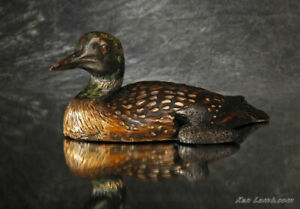 Dave Hentosh Common Loon With Chick Bronze Sculpture Mamma's Shadow