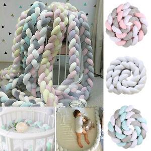 Crib Bumper Knot Ball Plush Bedding Bed Cot Braid Pillows Protector Decor