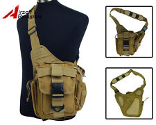 Tactical Airsoft Outdoor Molle Utility Shoulder Sling Backpack Bag Pouch Tan