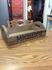 Vintage Michelob Beer Solid Wood Construction Handled Crate/Caddy Nice!!