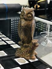 Antique A.C. Williams Owl on Stump, Be Wise Save Money, Cast Iron Still Bank