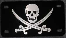 Calico Jack Skull and Swords on Black Motorcycle License Plate tag