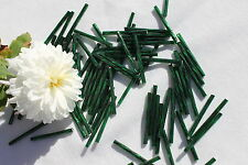30mm Twisted Silver Lined Hunter Green Czech Glass Bugle Beads/50 grams