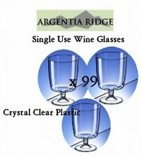 Bulk Lot x 99 Disposable Plastic Wine Glasses Clear Glass 210ml Tableware New