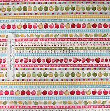 Food Fabric - Funky Fruit Border Stripe Apple Strawberry - Makower UK Cotton /Yd