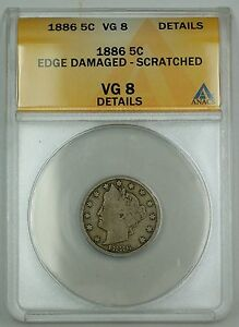 1886 Liberty V Nickel Coin 5c ANACS VG-8 Details Edge Damaged Scratched