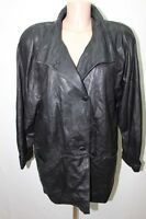 MANTEAU EN CUIR NOIR 42 XL VESTE COAT LEATHER MOTO