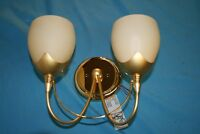 Wall Light. Endon Twin Light. Polished Brass With Cream Matt Glass Shades