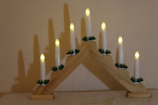 Christmas Static 7L PINE Wood CANDLE ARCH / CANDLELIER/ bridge w TIMER - Battery