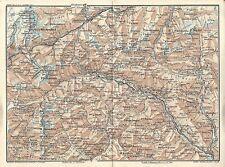 Carta geografica antica PASSO DEL GOTTARDO Gotthardpass 1914 Old antique map