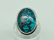 Gorgeous Studio Sterling Silver Spider Web Turquoise Chunky Cocktail Ring Size L
