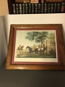 "19th Century Hand Colored Lithograph ""Stag Hunting"" -Paris 1840's -Framed 24x20"