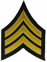 E-5 Sergeant Sgt Black Gold 4.25 Inch Embroidered Patch F2D1S