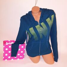 Victoria Secret PINK Hoodie Medium Sweater Teal Blue Green Logo