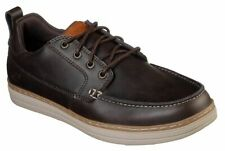 Mens Skechers Leather Memory Foam Walking Boat Deck Shoes, In Brown, Dark Brown