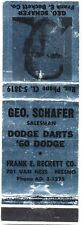 1960 Dodge Dart Frank Beckett Fresno Dealer Schafer advertising Matchbook Cover