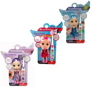 BrushBuddies Kids Toothbrush with Fashion Doll and Race Car.
