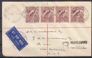 DB7898/ BRITISH NEW GUINEA – SG # 166 STRIP OF 4 ON REGISTERED AIRMAIL COVER