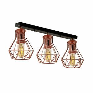 3 Light Bar Pendant Black With Rose Gold Vintage Industrial Ceiling Lighting