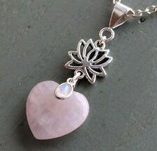 Rose Quartz Heart & Rainbow Moonstone Lotus Flower Pendant Pagan chakra necklace