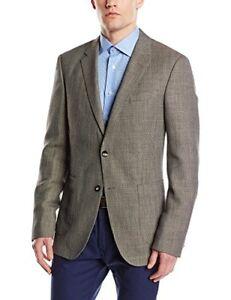 TOMMY HILFIGER Tailored Men's Blazer Wool & Linen Birdseye Blazer Brown RRP £300