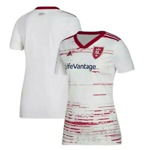 Adidas Real Salt Lake RSL MLS 2019 Womens Soccer Away Jersey White Size XS