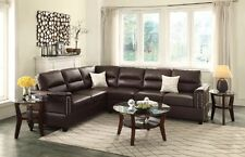 Espresso Bonded Leather Sectional Sofa Loveseat Wedge Accent Pillows Sofa Couch