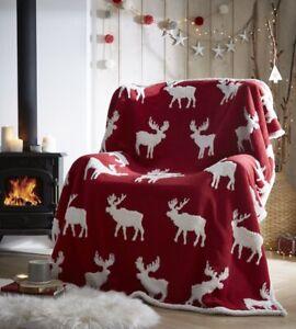Red Moose Sherpa Fleece Christmas Super Soft Blanket-Throw