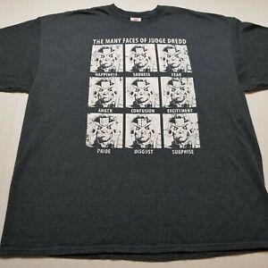 The Many Faces Of Judge Dredd T-Shirt Mens 2XL 2000 AD Gray ♡39