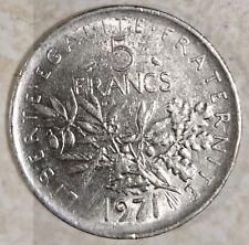 Ancienne pièce de monnaie 5 francs SEMEUSE, NICKEL 1971